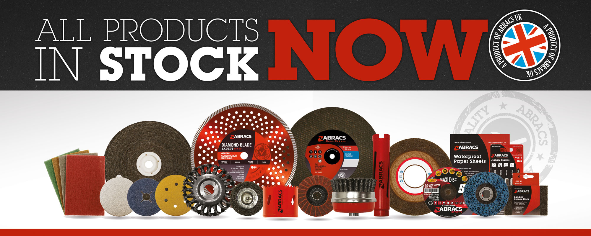 Abracs Product Range Image Displaying All Products In Stock